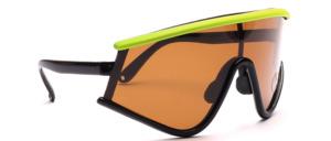 Oversize Radbrille aus den 80er Jahren mit polarisierten Scheiben in Schwarz mit Neongelbem Oberrand