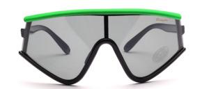 Oversize Radbrille aus den 80er Jahren mit polarisierten Scheiben in Schwarz mit grünem Oberrand