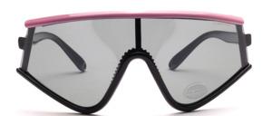 Oversize Radbrille aus den 80er Jahren mit polarisierten Scheiben in Schwarz mit pinkem Oberrand
