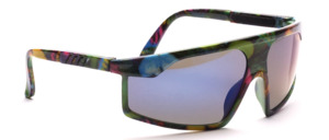 80s RadSport sunglasses with colorful Tropicana print and gray lenses