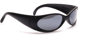 Sporty sunglasses in matt black with wide temples and silver mirrored lenses