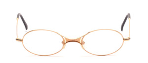 Oval metal frame in gold with a thin frame and distinctive nose bridge