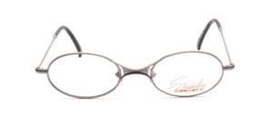 Ovale Metallfassung in Grau mit dünnem Rahmen und markantem Nasensteg