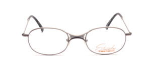 Sporty metal frame in gray with a thin frame and distinctive nose bridge