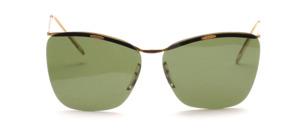 Vintage 50er Jahre randlos Sonnenbrille mit goldenem Metallbalken und Bügeln