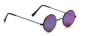Small round metal sunglasses without nose pads with a black rim and blue mirrored lenses