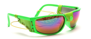 Neon green sunglasses with side protection and elastic