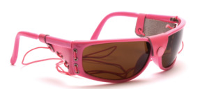 Sunglasses in pink with side protection and elastic band