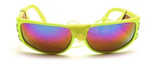 Sonnenbrille in Neongelb mit Seitenschutz und Gummiband