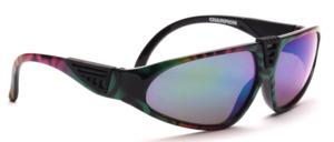 Bunt gemusterte Unisex Sportbrille mit verspiegelten Scheiben