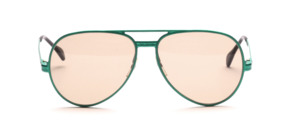 Vintage pilot sunglasses from the late 70s made of metal painted in iridescent green