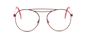 80s aviator glasses painted in cherry red with a fancy double bridge and deep lenses