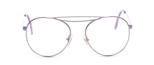 90s aviator glasses painted in pastel purple with a fancy double bridge and deep lenses