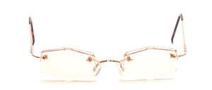 Finely crafted golden half-rim frame with subtle decor