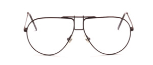 Classic pilot frame with rectangular bridge painted in dark brown
