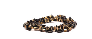 Glasses chain made of semi-precious stones in black and honey colors