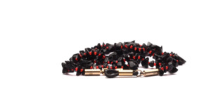 Glasses chain made of semi-precious stones in black with small red pearls