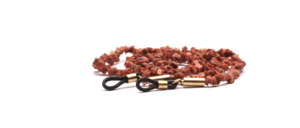 Glasses chain made of glittering semi-precious stones in brown