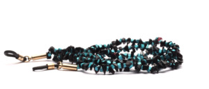 Glasses chain made of semi-precious stones in black and turquoise blue