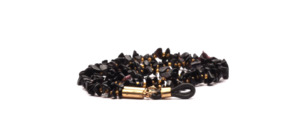 Glasses chain made of black semi-precious stones with golden pearls