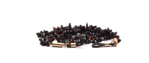 Glasses chain made of black semiprecious stones with colored glass beads in between