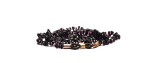 Glasses chain made of black semi-precious stones with pink glass beads in between