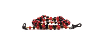 Pretty chain of glasses made of red and black plastic pearls with small gold pearls
