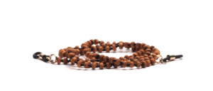 Pretty eyeglass chain made of brown balsa wood beads with small black glass beads