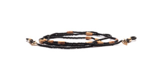 Glasses chain made of black plastic beads with elongated balsa pieces