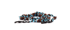 2 clean glasses chain made of blue and black plastic beads with brown balsa wood beads