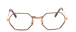 Vintage 70s metal frame in gold with a high nose bridge and brown accent on the front of the glass rim