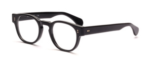 Retro acetate frame in black for men, with 2 round silver rivets on the front