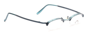 Special half-rim glasses for women, in metallic blue, from the French designer forge