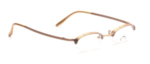 Distinctive half-rim glasses for women, in metallic brown, from the French designer forge
